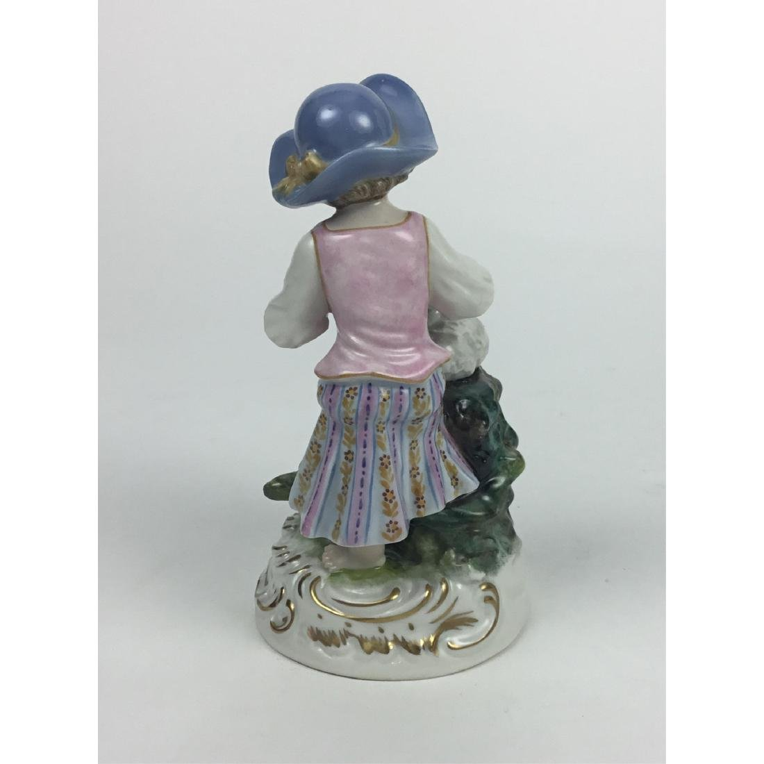 MEISSEN COUNTRY GIRL WITH SHEEP FIGURINE - 3