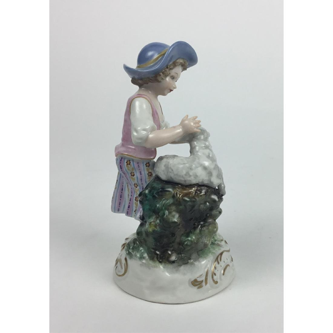 MEISSEN COUNTRY GIRL WITH SHEEP FIGURINE - 4