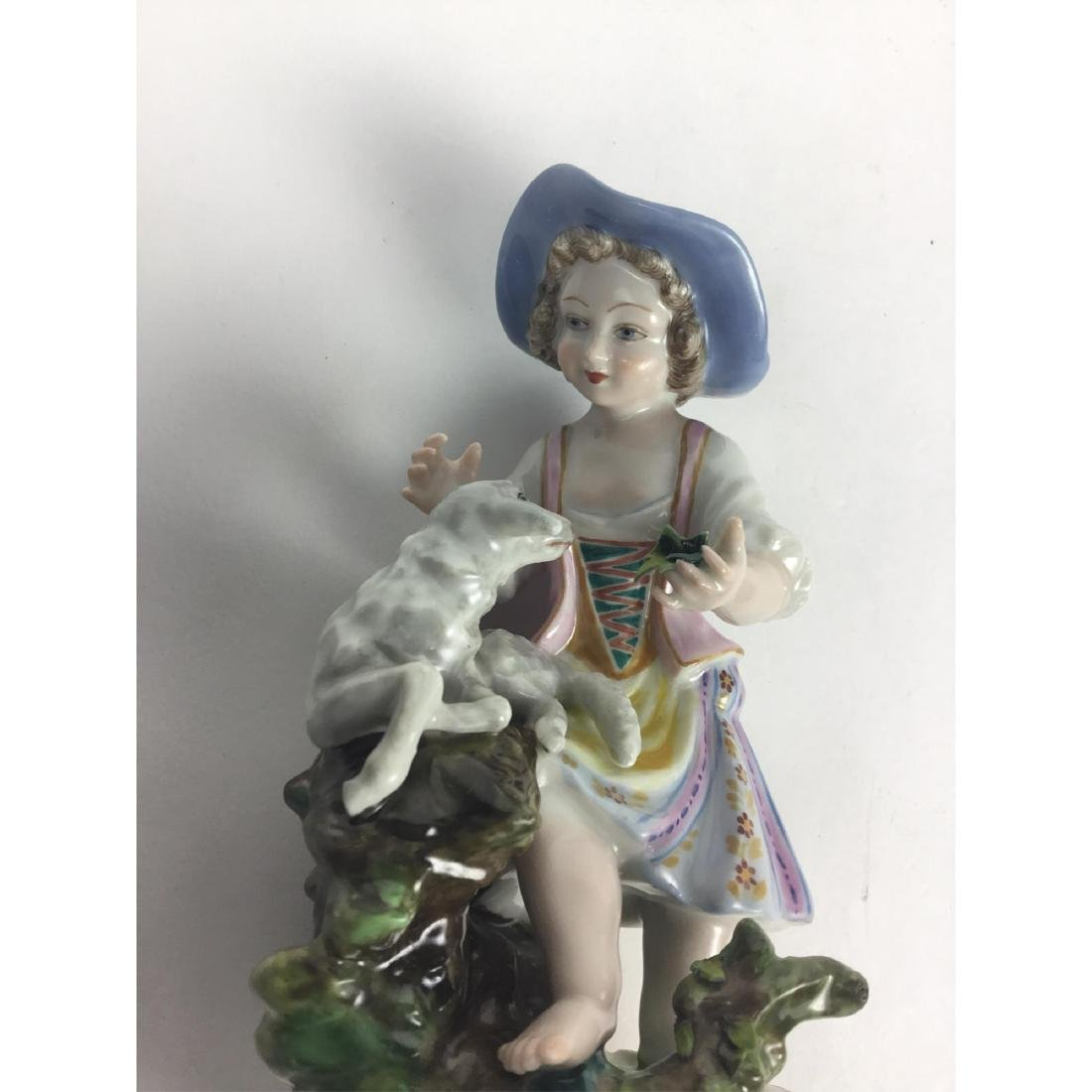 MEISSEN COUNTRY GIRL WITH SHEEP FIGURINE - 6