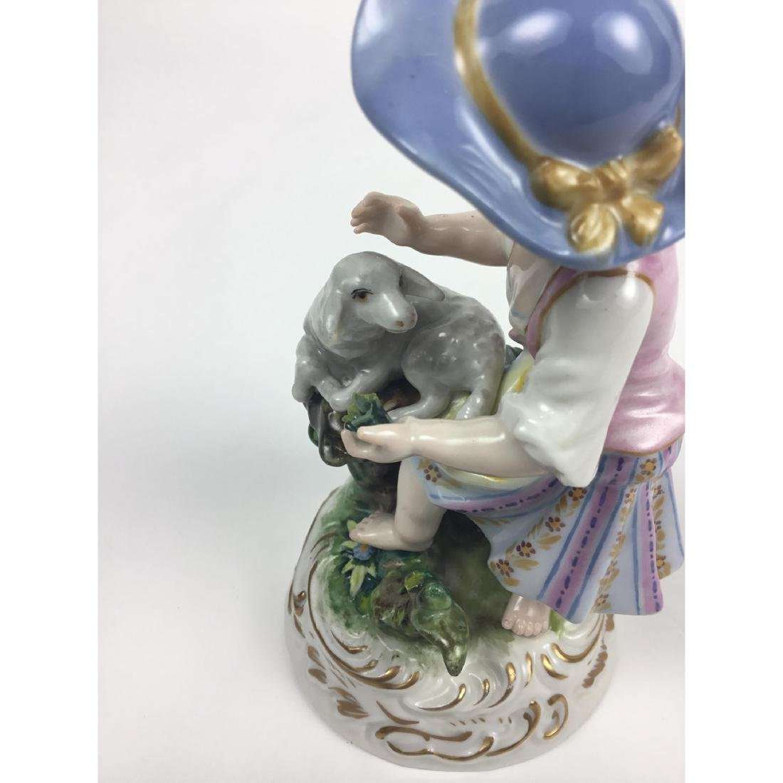 MEISSEN COUNTRY GIRL WITH SHEEP FIGURINE - 7