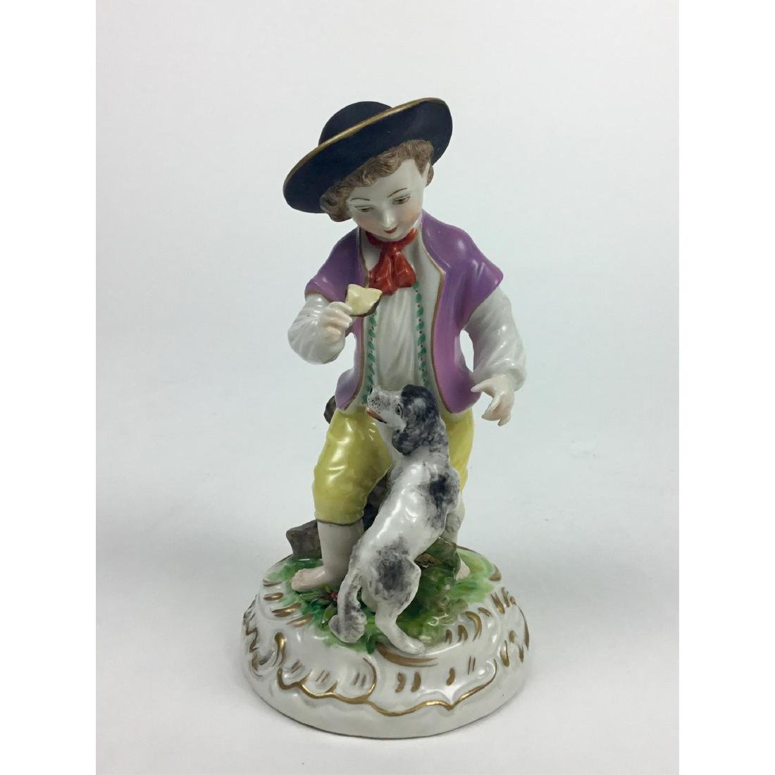 MEISSEN COUNTRY BOY WITH DOG FIGURINE