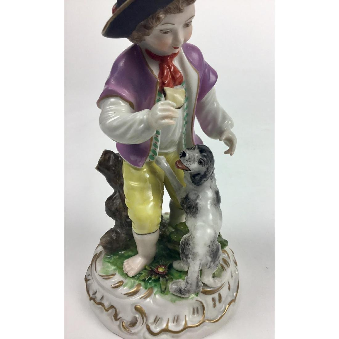MEISSEN COUNTRY BOY WITH DOG FIGURINE - 5