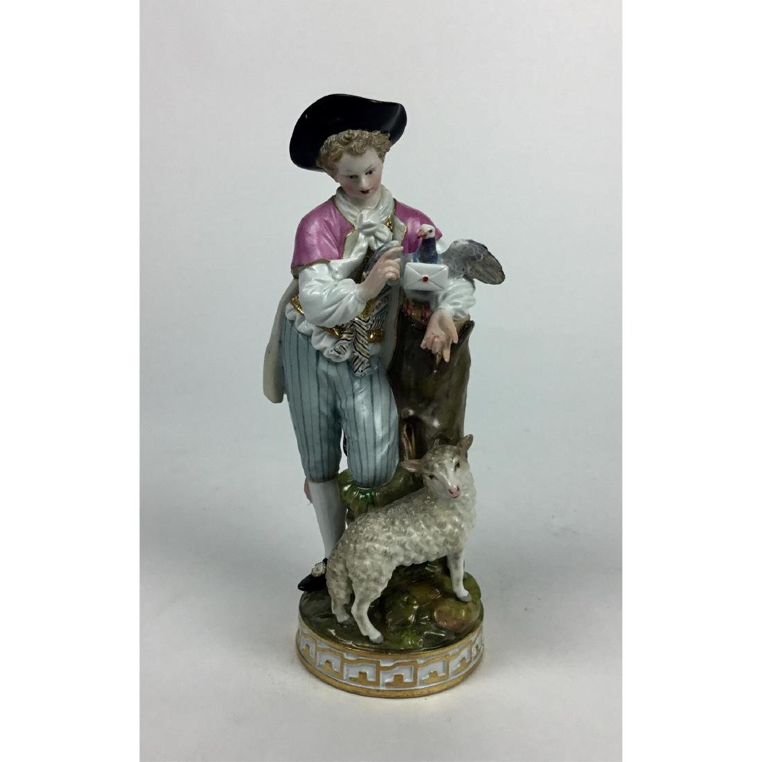 MEISSEN SHEPHERD BOY AND SHEEP GROUP FIGURINE