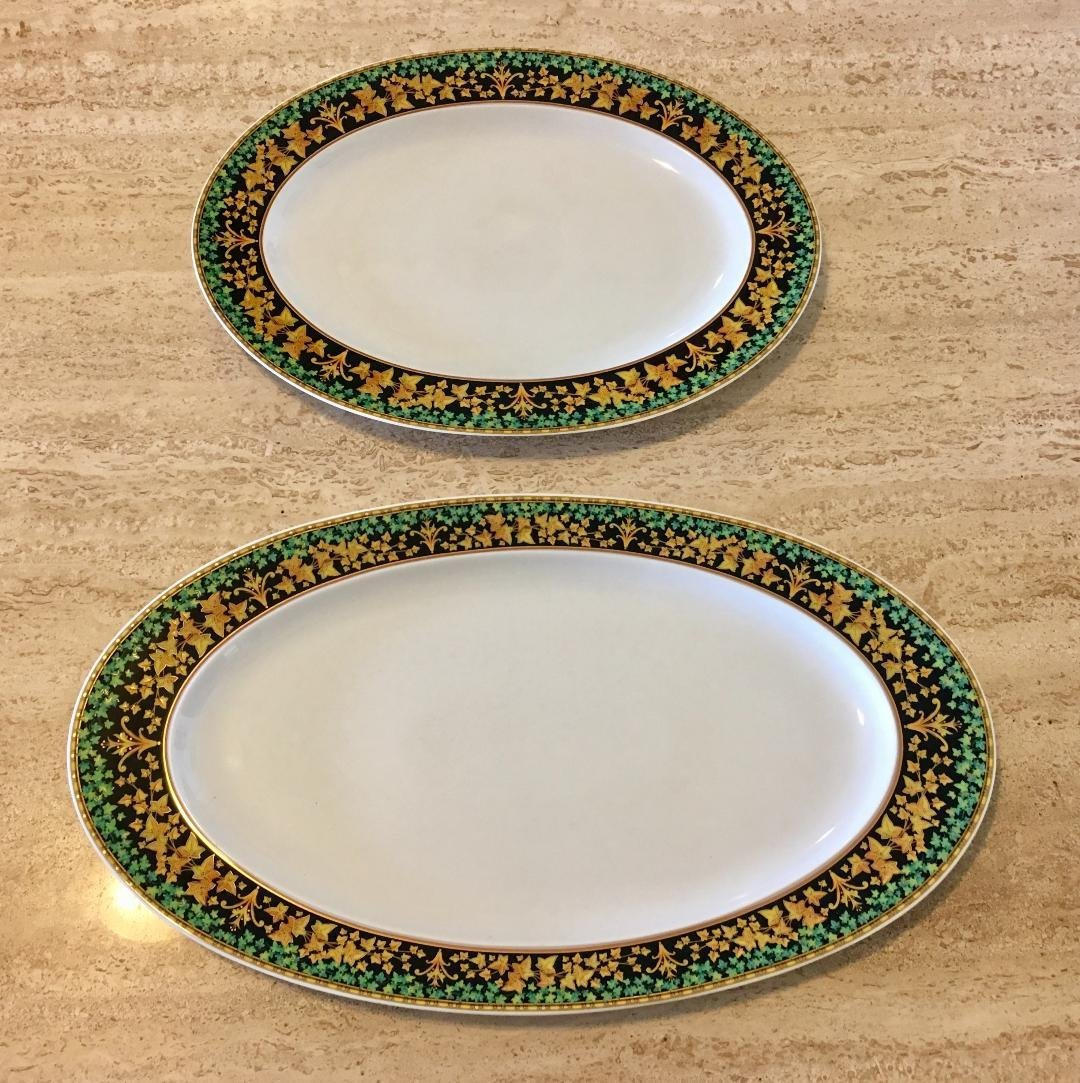 SET 2PC ROSENTHAL VERSACE LARGE SERVING TRAYS