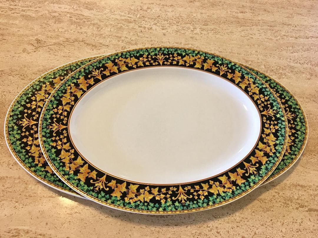 SET 2PC ROSENTHAL VERSACE LARGE SERVING TRAYS - 2