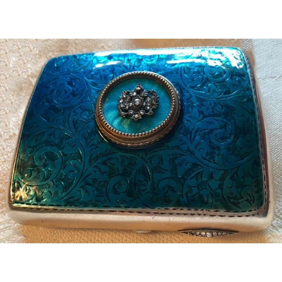 FABERGE RUSSIAN 19thC STERLING ENAMEL GOLD CASE