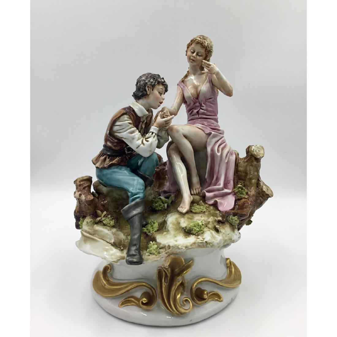 CAPODIMONTE LARGE PORCELAIN MAN & WOMAN FIGURINE