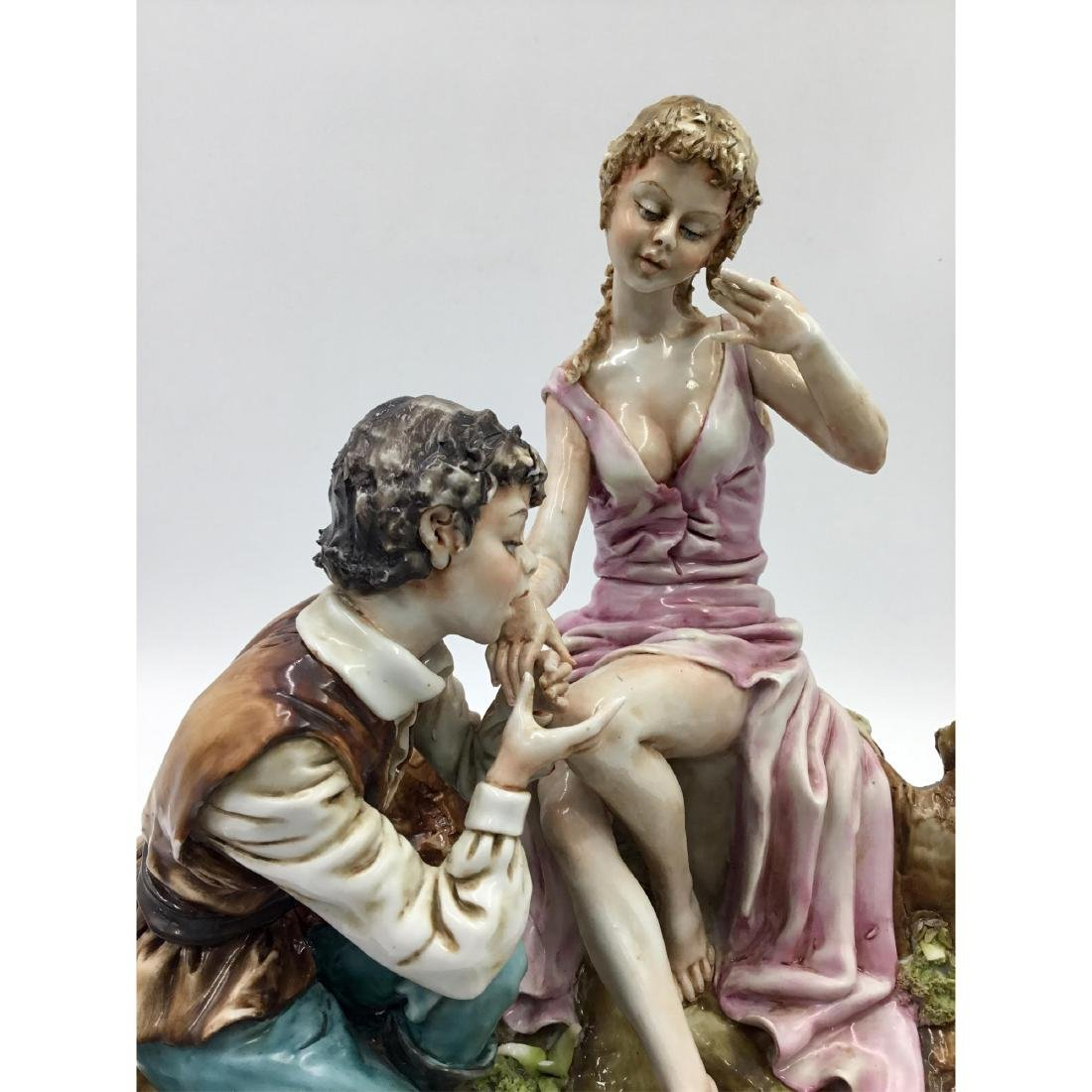 CAPODIMONTE LARGE PORCELAIN MAN & WOMAN FIGURINE - 5