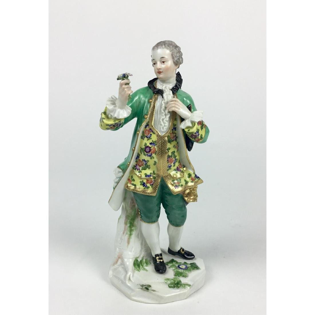MEISSEN YOUNG MAN WITH FLOWERS FIGURINE