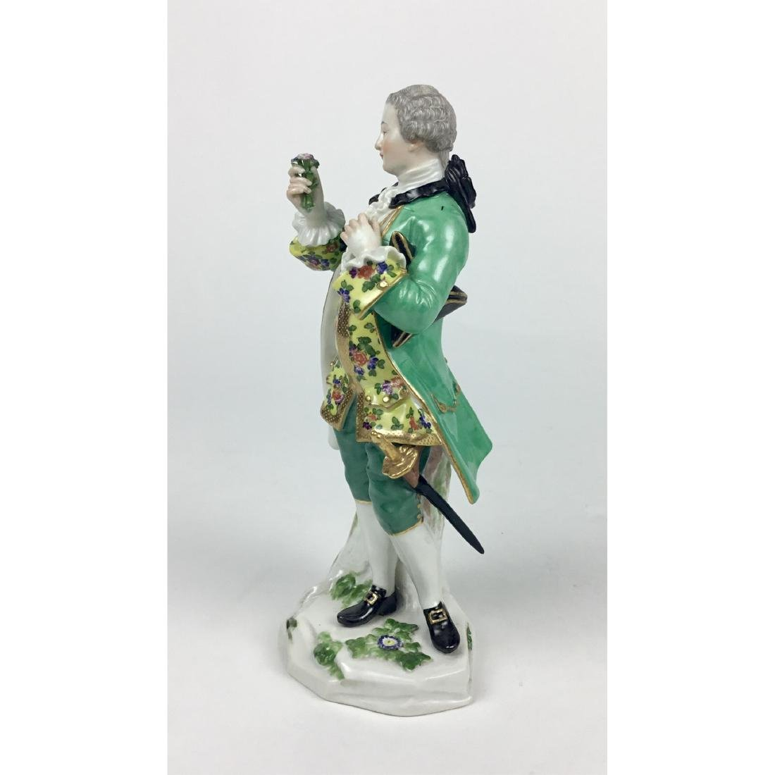 MEISSEN YOUNG MAN WITH FLOWERS FIGURINE - 2