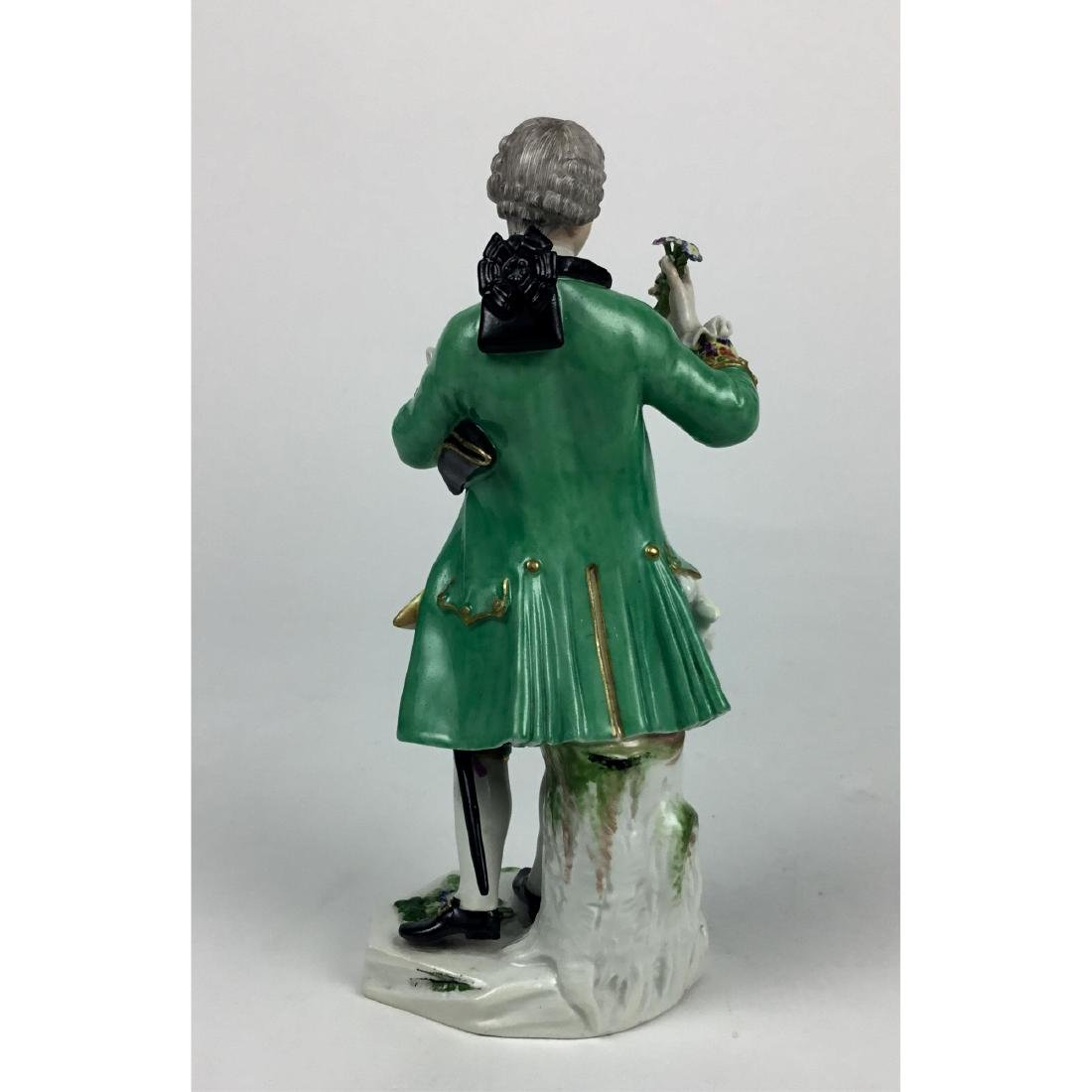 MEISSEN YOUNG MAN WITH FLOWERS FIGURINE - 3