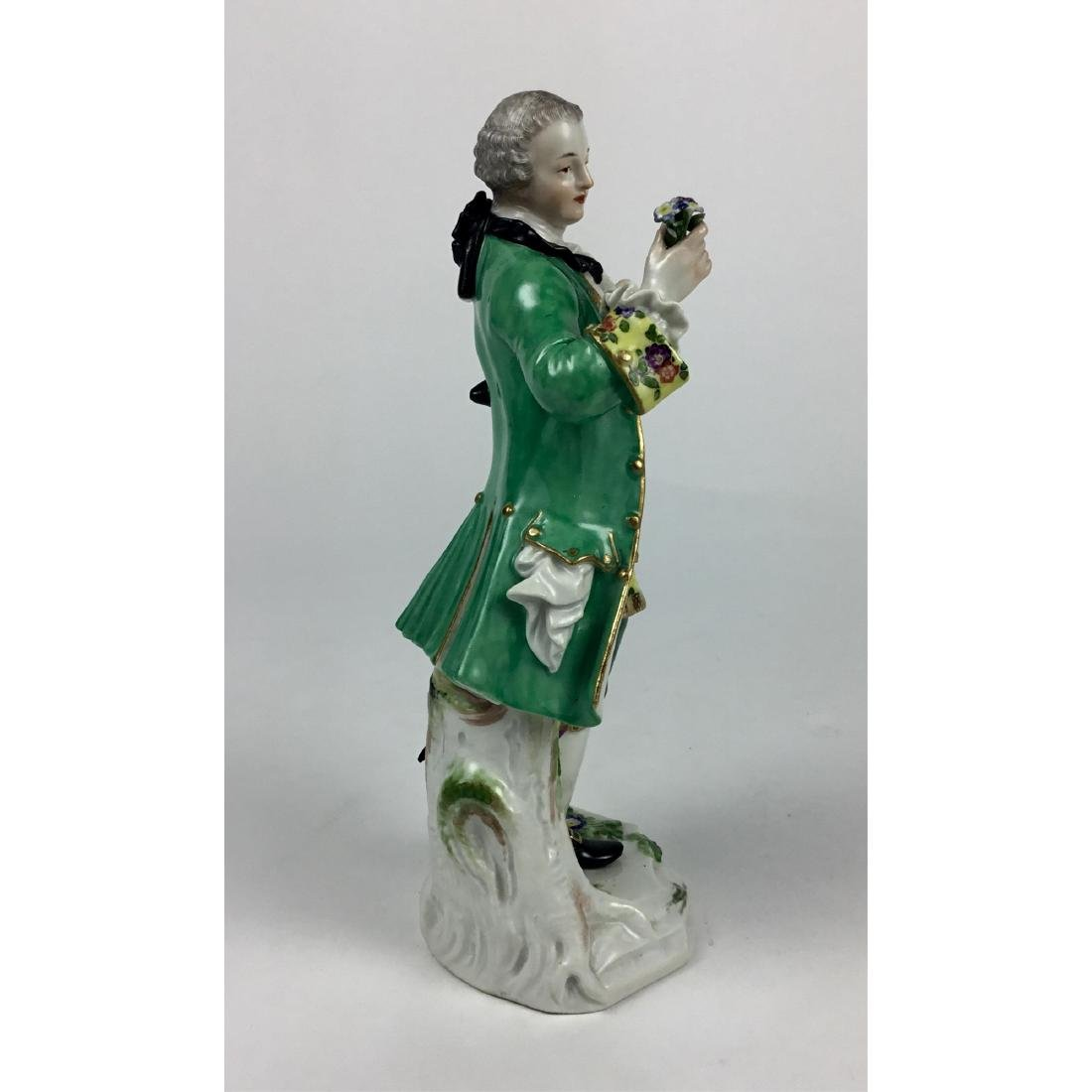 MEISSEN YOUNG MAN WITH FLOWERS FIGURINE - 4