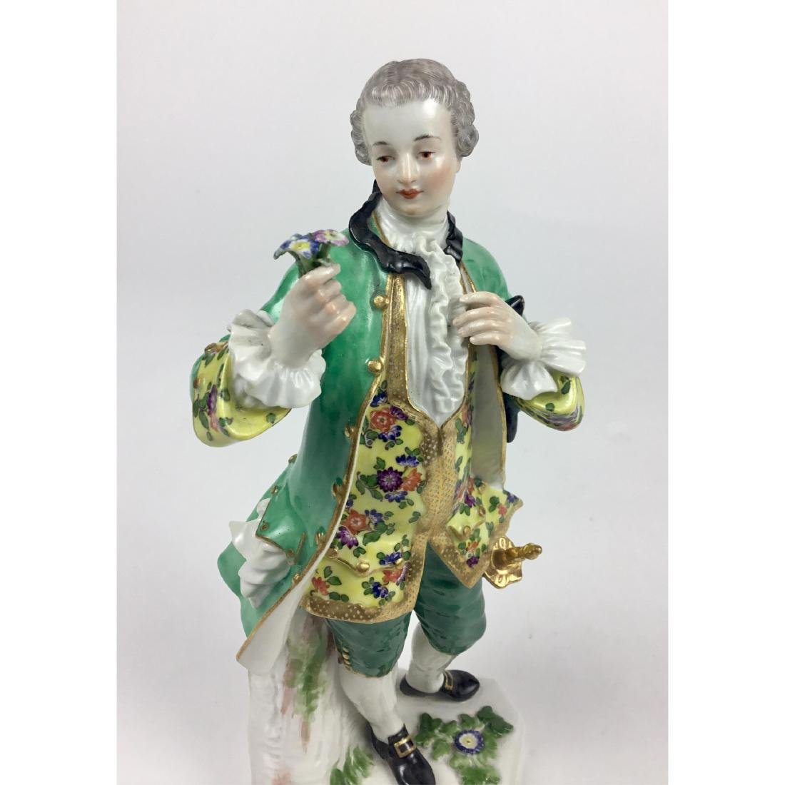 MEISSEN YOUNG MAN WITH FLOWERS FIGURINE - 5