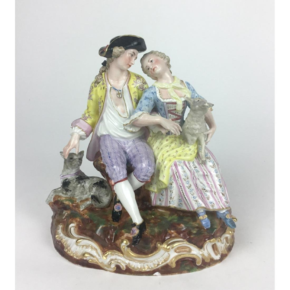 MEISSEN LOUNGING LOVERS GROUP FIGURINE