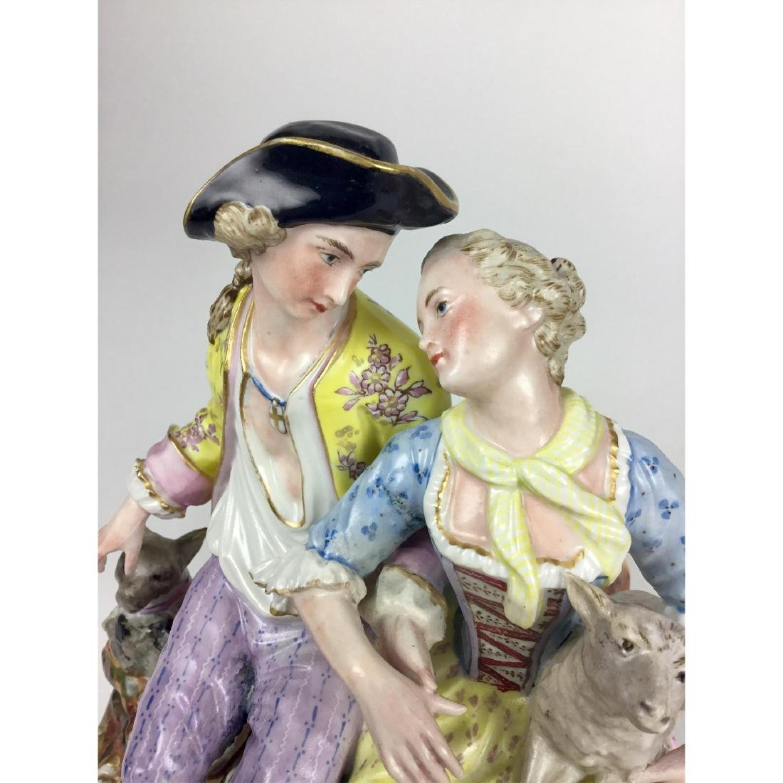 MEISSEN LOUNGING LOVERS GROUP FIGURINE - 4
