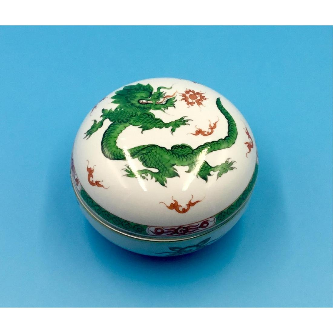 MEISSEN GREEN MING DRAGON PORCELAIN BOX
