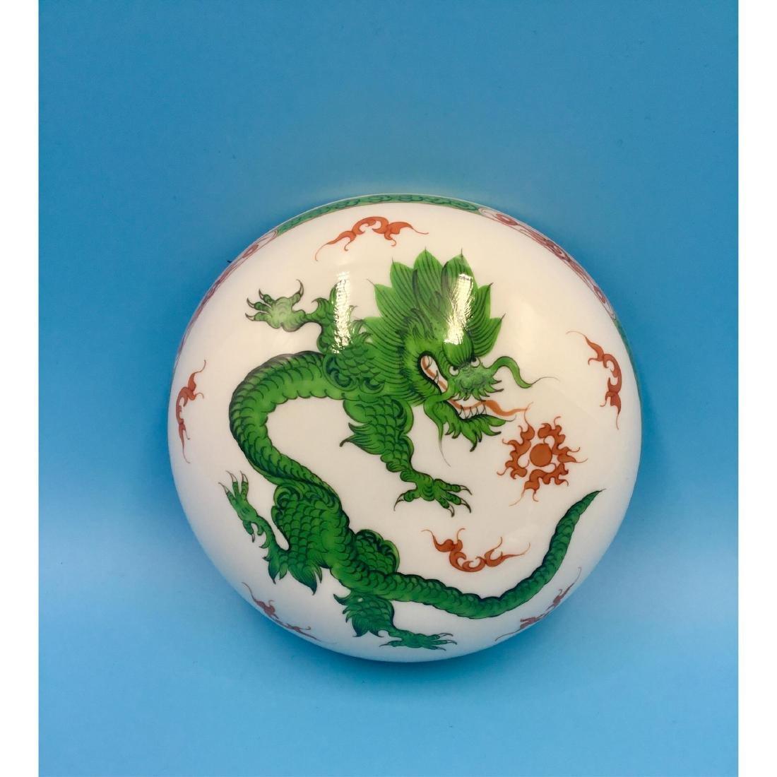 MEISSEN GREEN MING DRAGON PORCELAIN BOX - 7