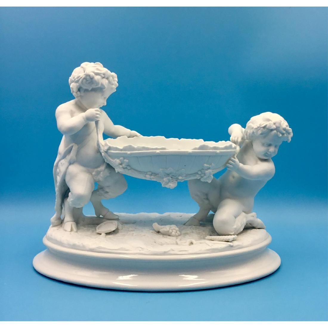 MEISSEN BISQUE SATYR FIGURE COMPOSITION BOWL