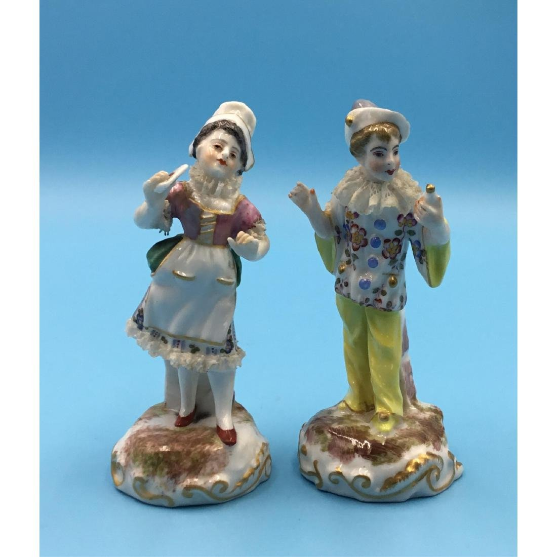 PAIR FRENCH 19TH C. MINIATURE PORCELAIN FIGURINES