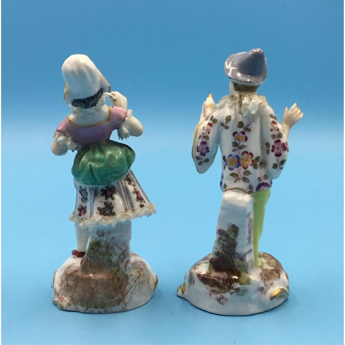 PAIR FRENCH 19TH C. MINIATURE PORCELAIN FIGURINES - 3