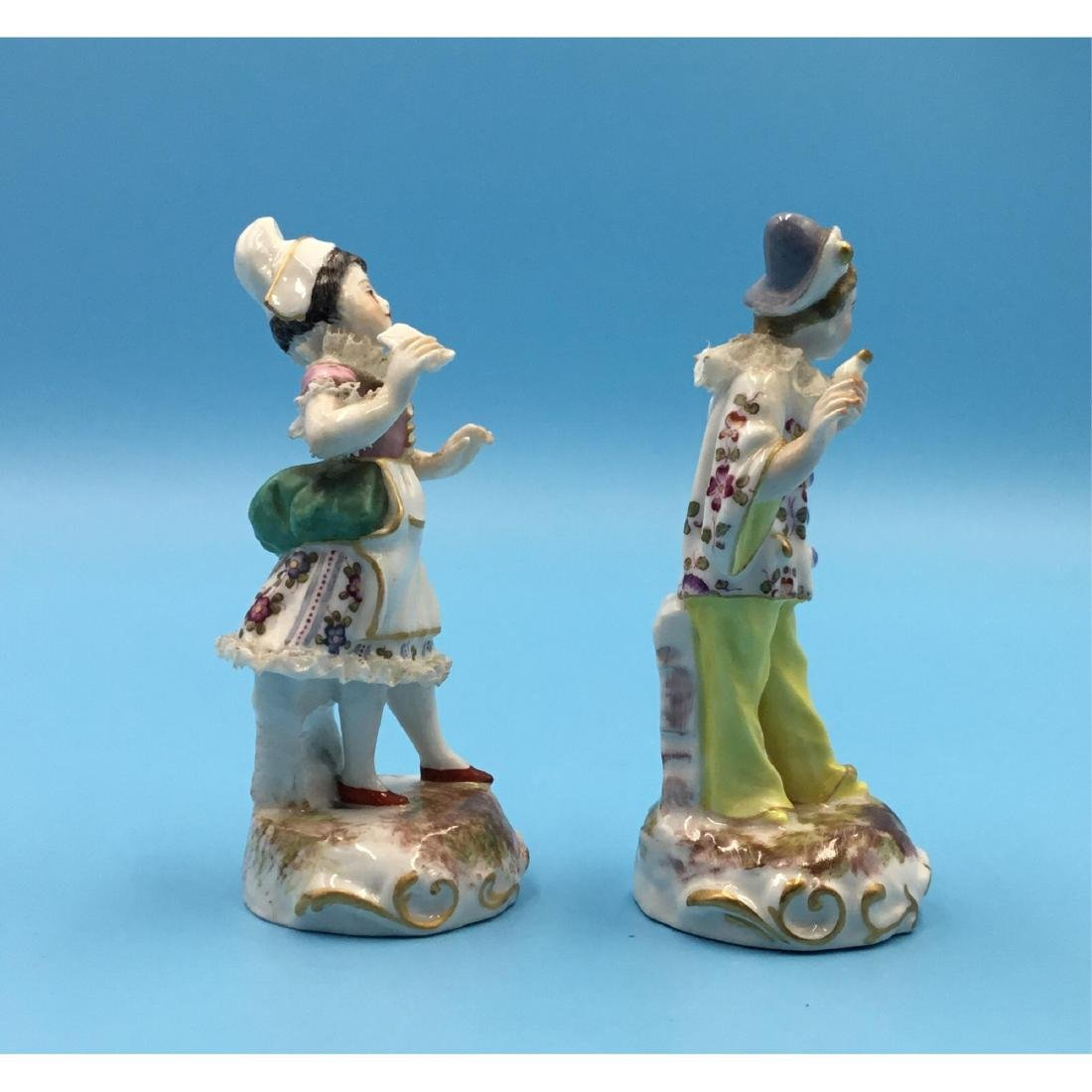 PAIR FRENCH 19TH C. MINIATURE PORCELAIN FIGURINES - 4