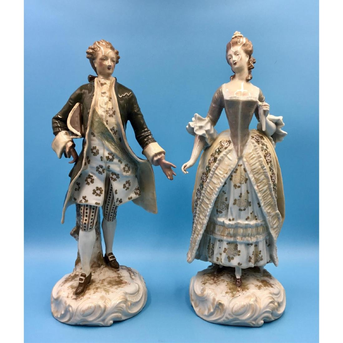 PAIR FRENCH R. BLOCH PORCELAIN FIGURINES