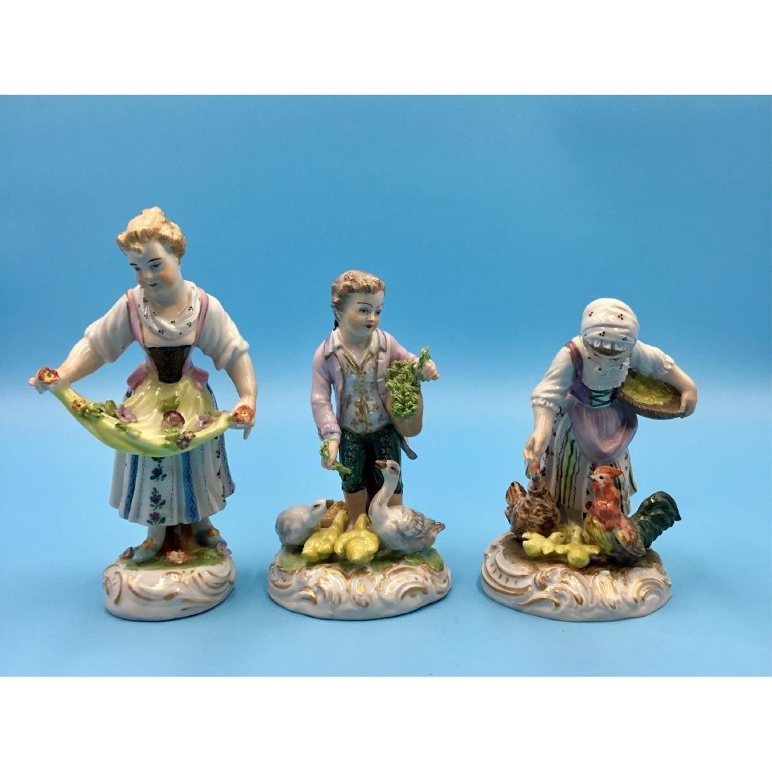 GROUP OF 3 DRESDEN GERMAN PORCELAIN FIGURINES