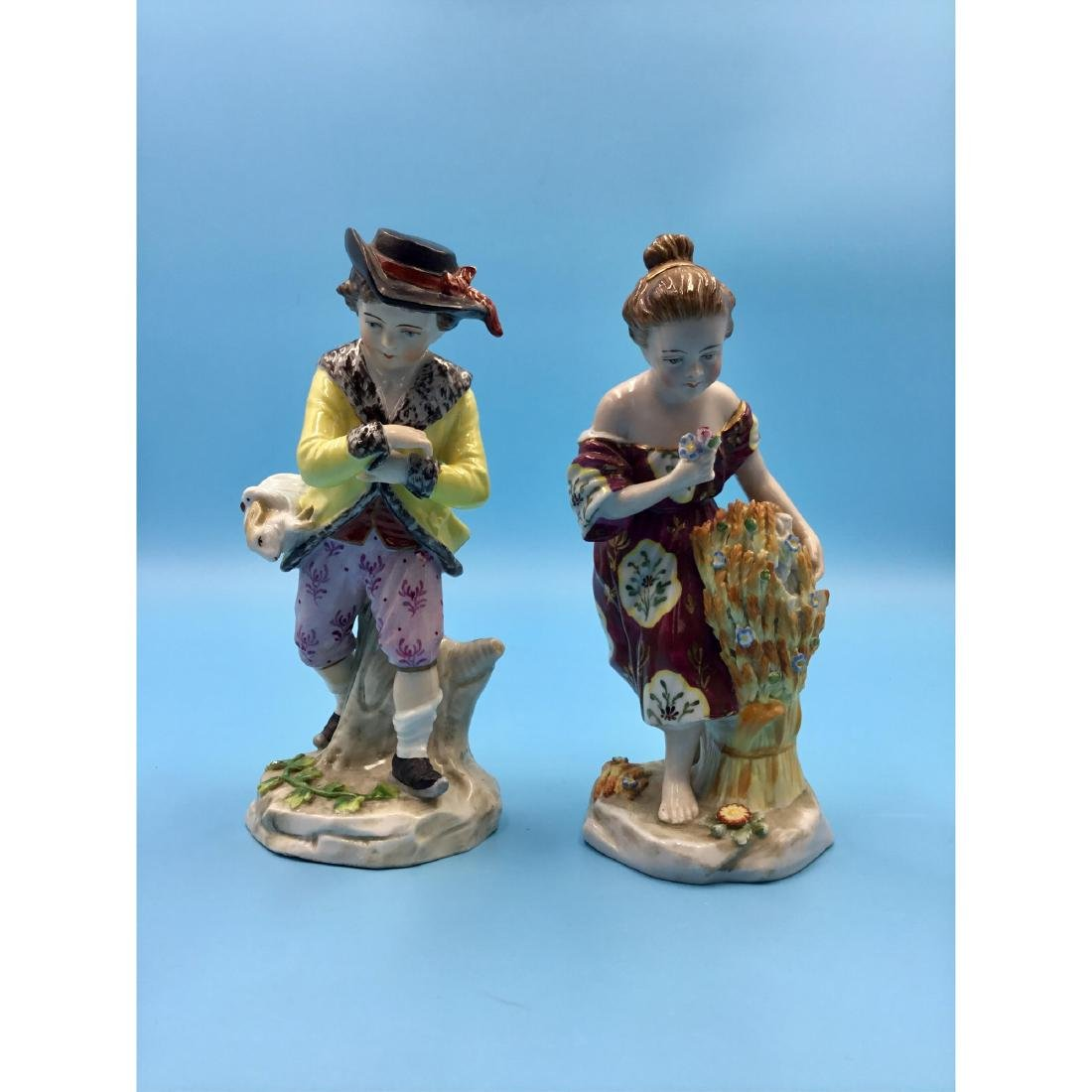 PAIR OF SITZENDORF GERMAN PORCELAIN FIGURINES