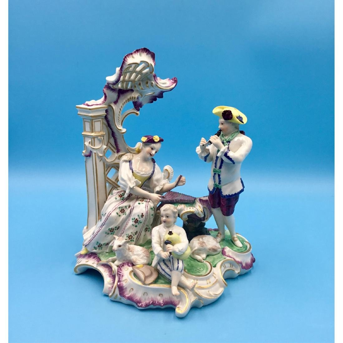 LARGE NYMPHENBURG GERMAN PORCELAIN GROUP FIGURINE