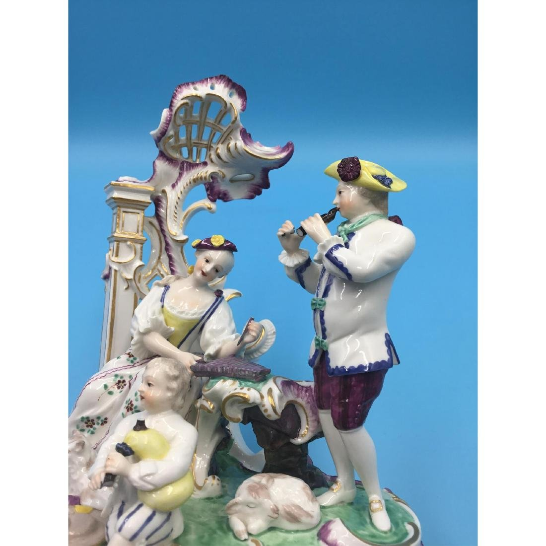 LARGE NYMPHENBURG GERMAN PORCELAIN GROUP FIGURINE - 7