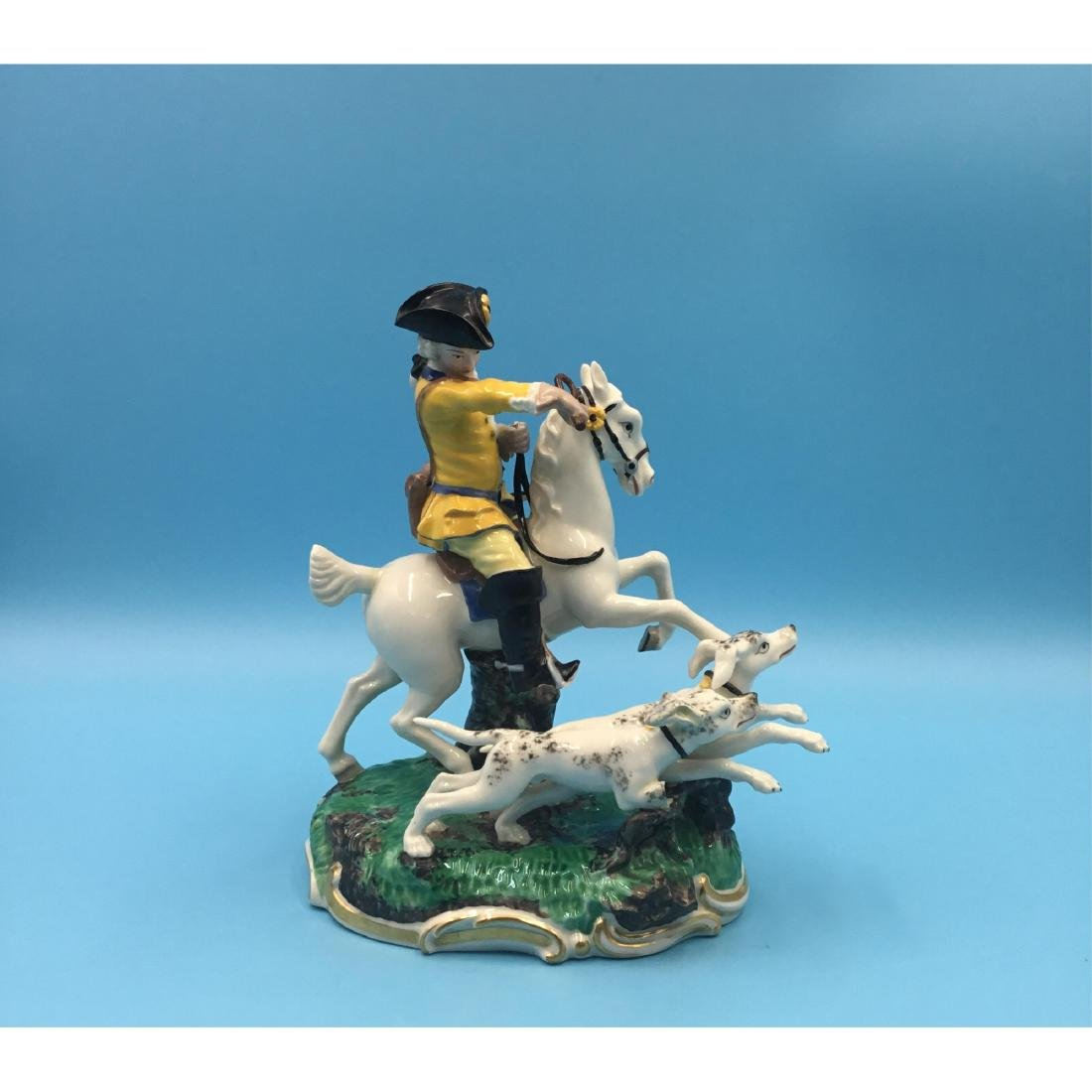 NYMPHENBURG GERMAN PORCELAIN GROUP HUNTER W DOGS
