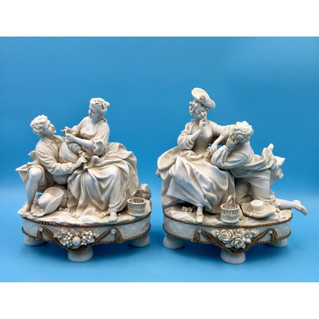 PAIR OF MULLER 19thC GERMAN BISQUE FIGURINES
