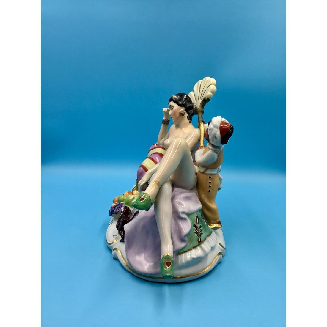 LARGE PORCELAIN GROUP FIGURINE NUDE WITH BLACKMOOR - 2