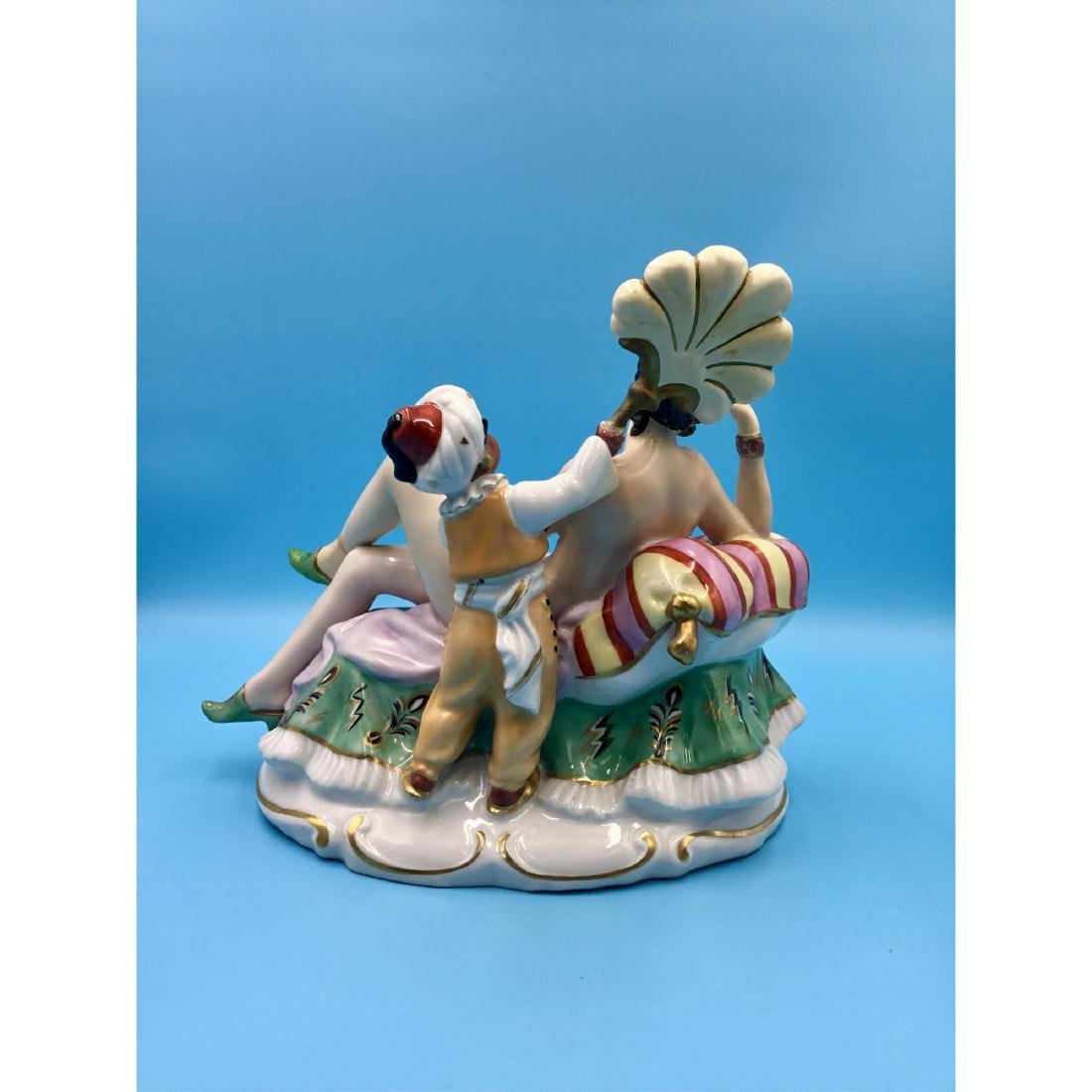 LARGE PORCELAIN GROUP FIGURINE NUDE WITH BLACKMOOR - 3