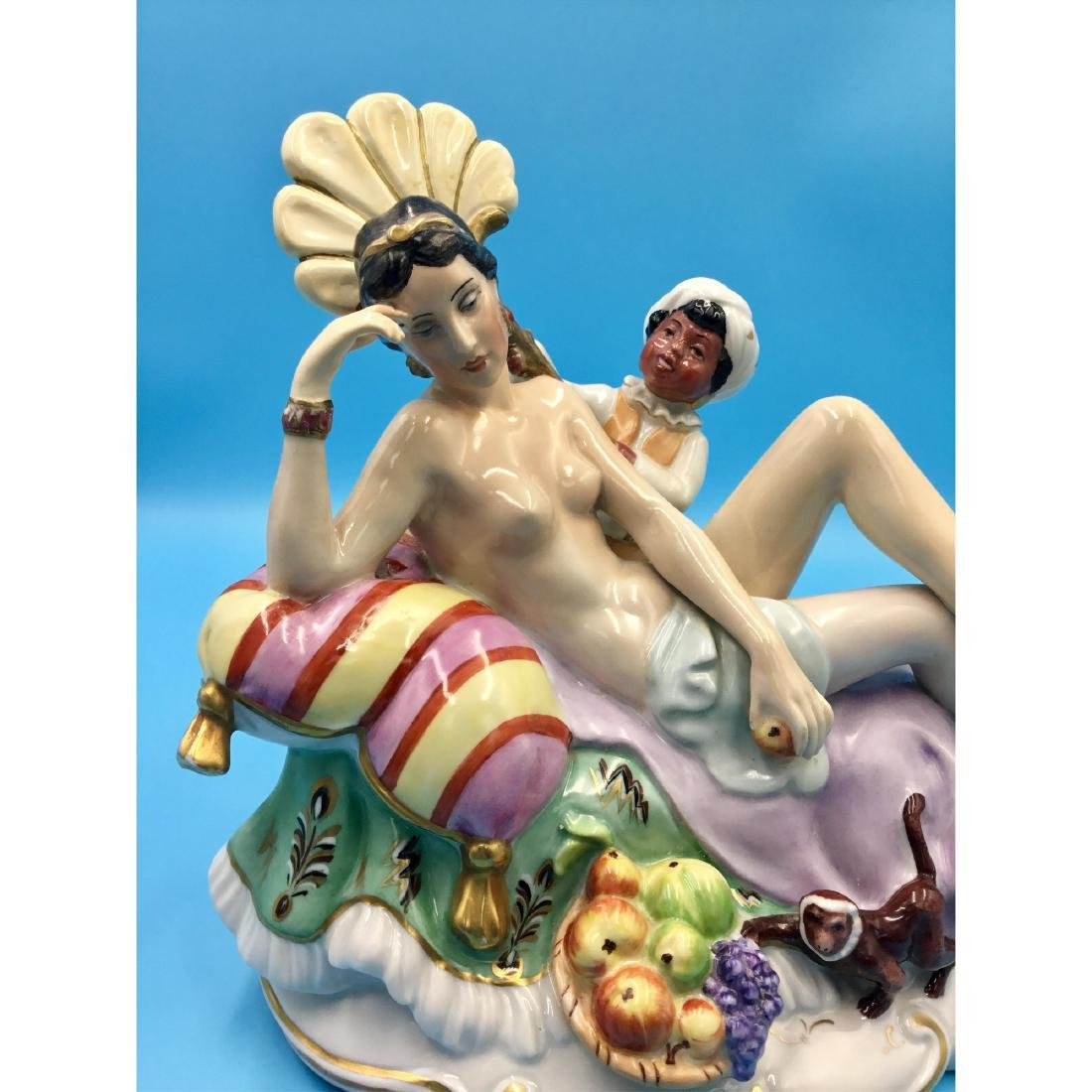 LARGE PORCELAIN GROUP FIGURINE NUDE WITH BLACKMOOR - 5