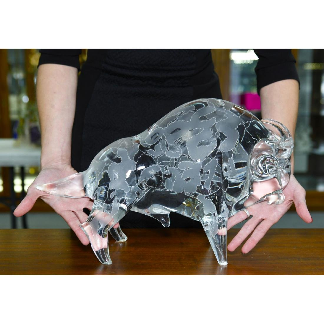 LICIO ZANETTI ETCHED MURANO GLASS LARGE BULL