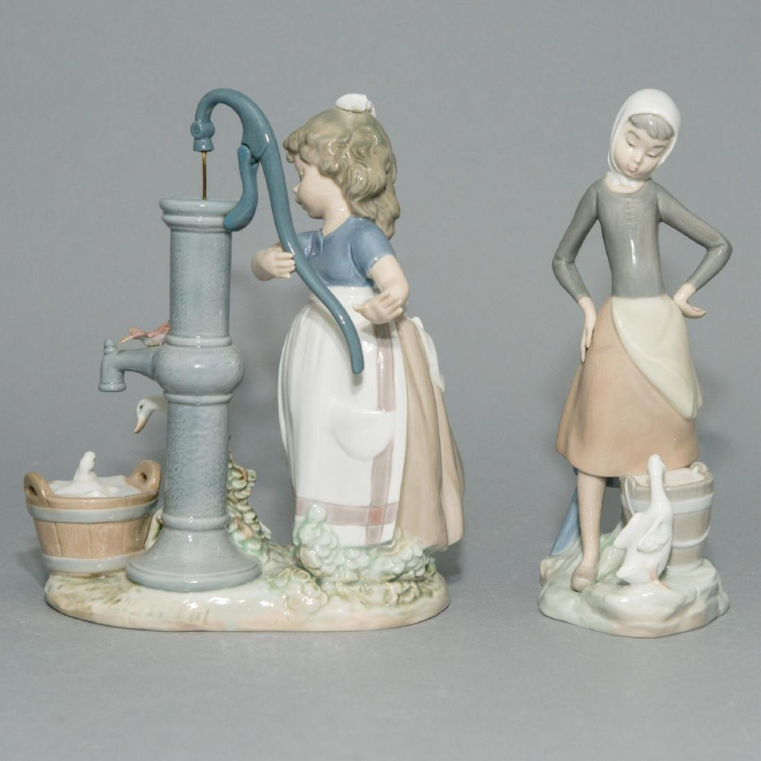 LLADRO GIRL WITH MILK PAIL AND SUMMER FIGURINES