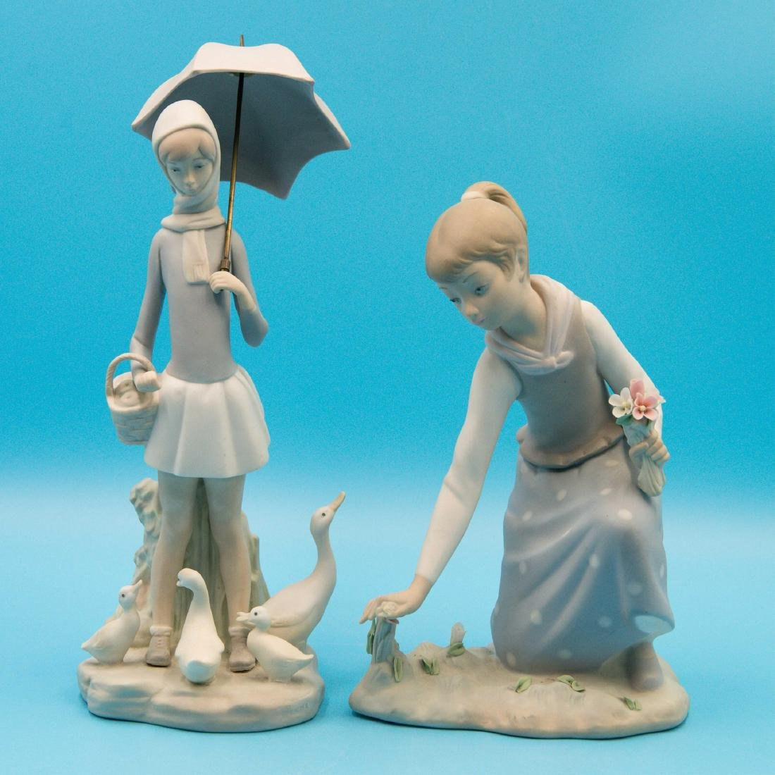LLADRO GIRL GATHERS FLOWERS AND GIRL WITH UMBRELLA
