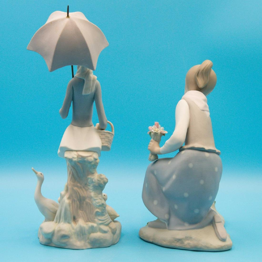 LLADRO GIRL GATHERS FLOWERS AND GIRL WITH UMBRELLA - 3