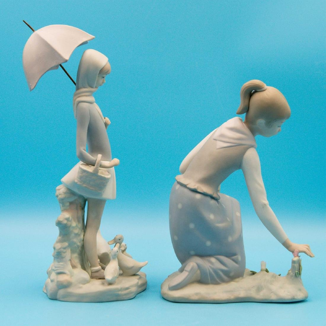 LLADRO GIRL GATHERS FLOWERS AND GIRL WITH UMBRELLA - 4