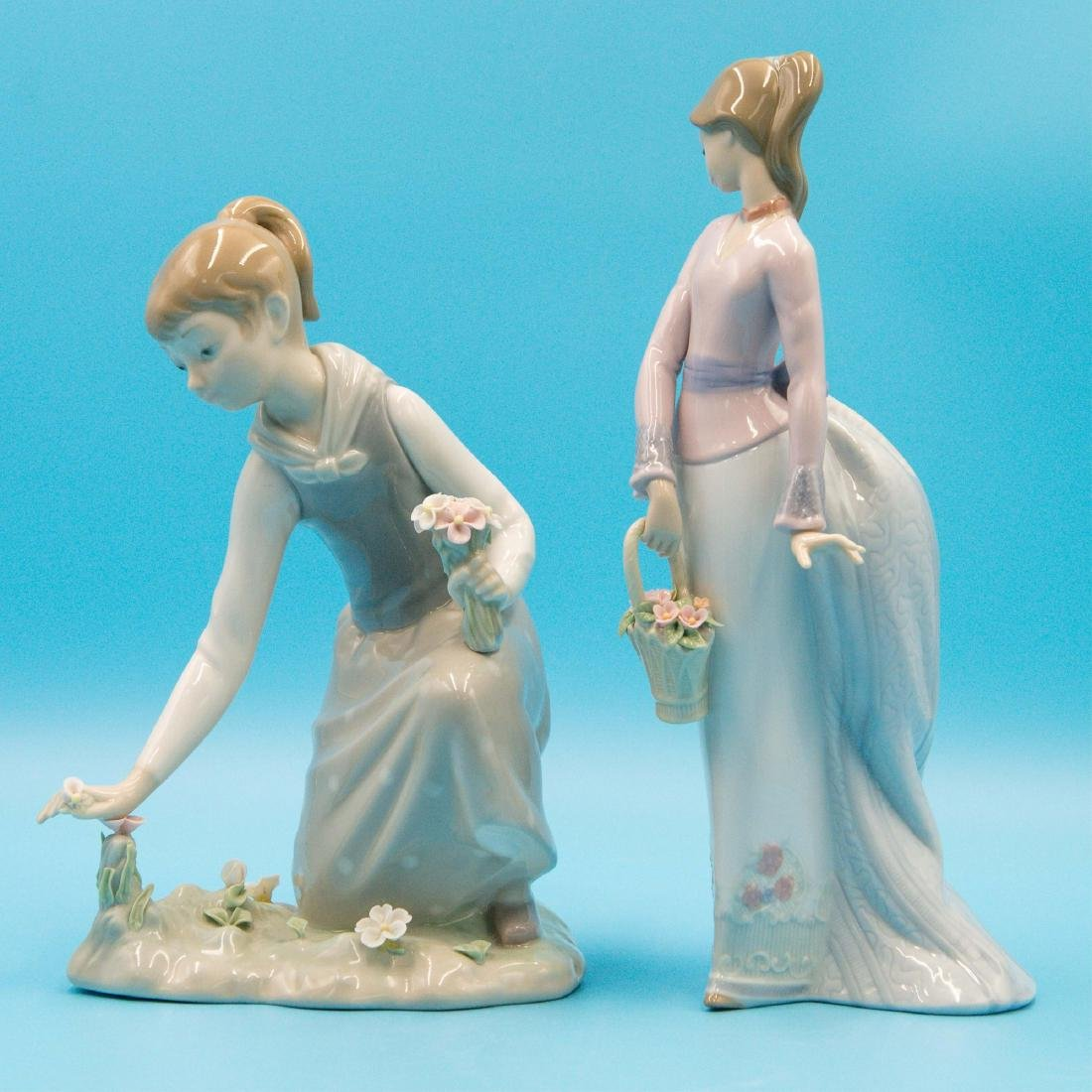 LLADRO 2PCS GIRL WITH FLOWERS AND BASKET OF LOVE