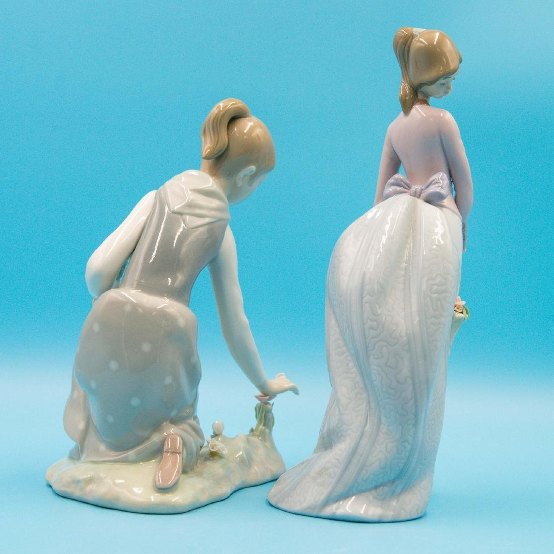 LLADRO 2PCS GIRL WITH FLOWERS AND BASKET OF LOVE - 3