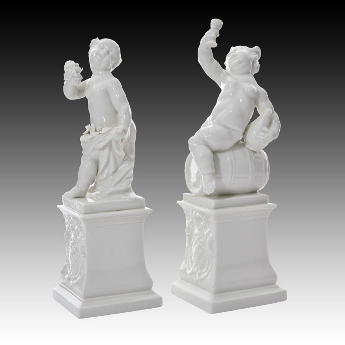 PAIR OF NYMPHENBURG CHERUB PUTTI FIGURINES