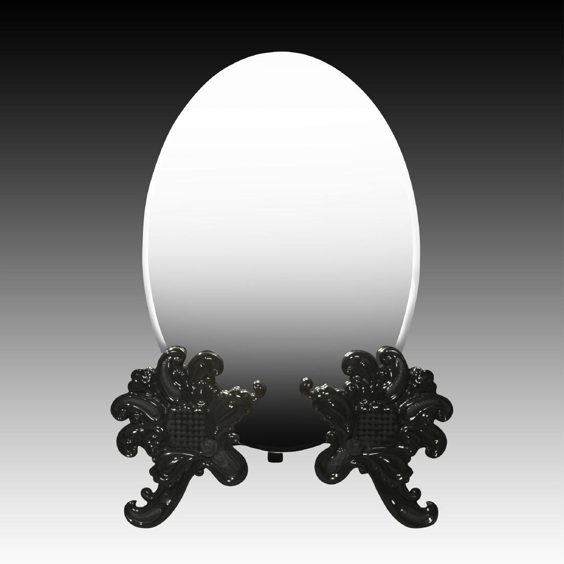 LLADRO BLACK ORNATE VANITY MIRROR TABLETOP