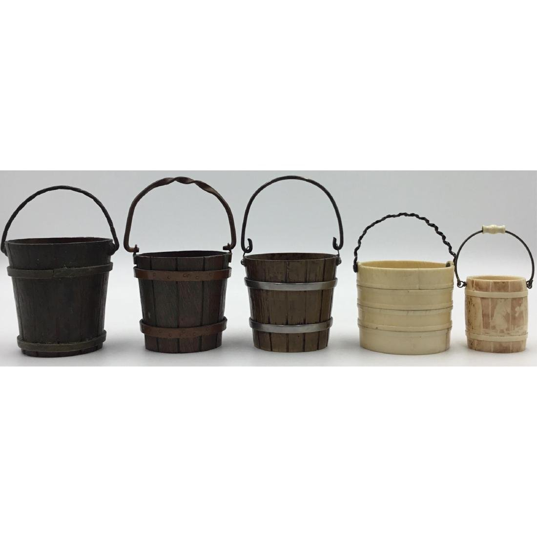 GROUP OF 5 ANTIQUE FRENCH MINIATURE BUCKETS