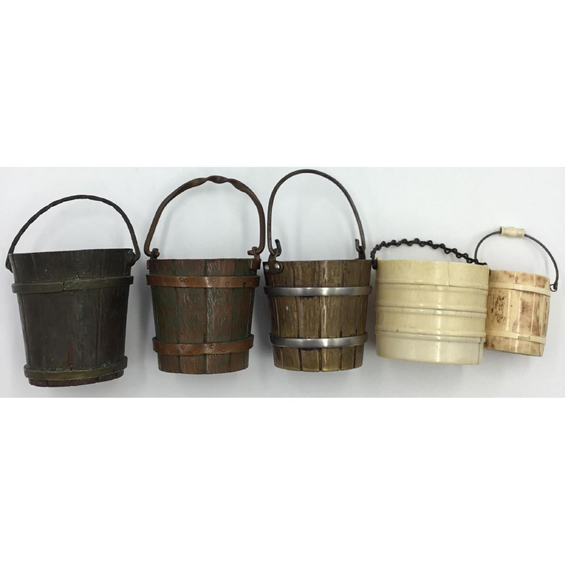 GROUP OF 5 ANTIQUE FRENCH MINIATURE BUCKETS - 5