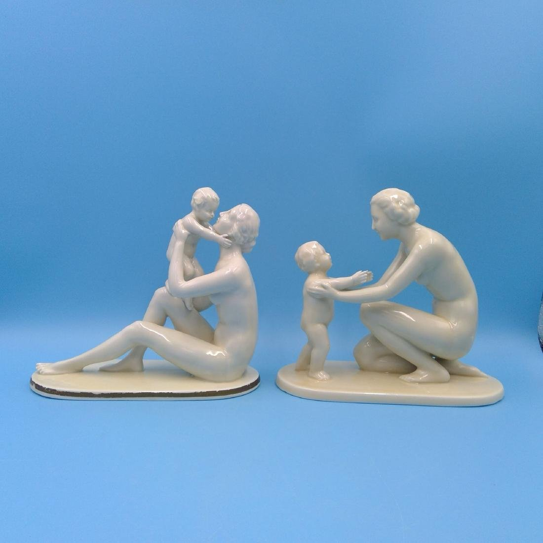 GROUP OF 2 NEUTETTAU PORCELAIN FIGURINES MOTHER