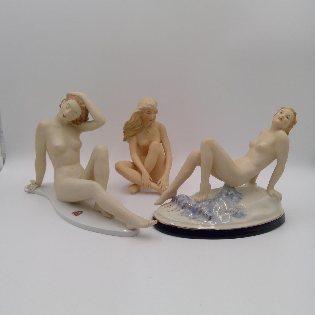 GROUP OF 3 NUDE ART DECO PORCELAIN FIGURINES