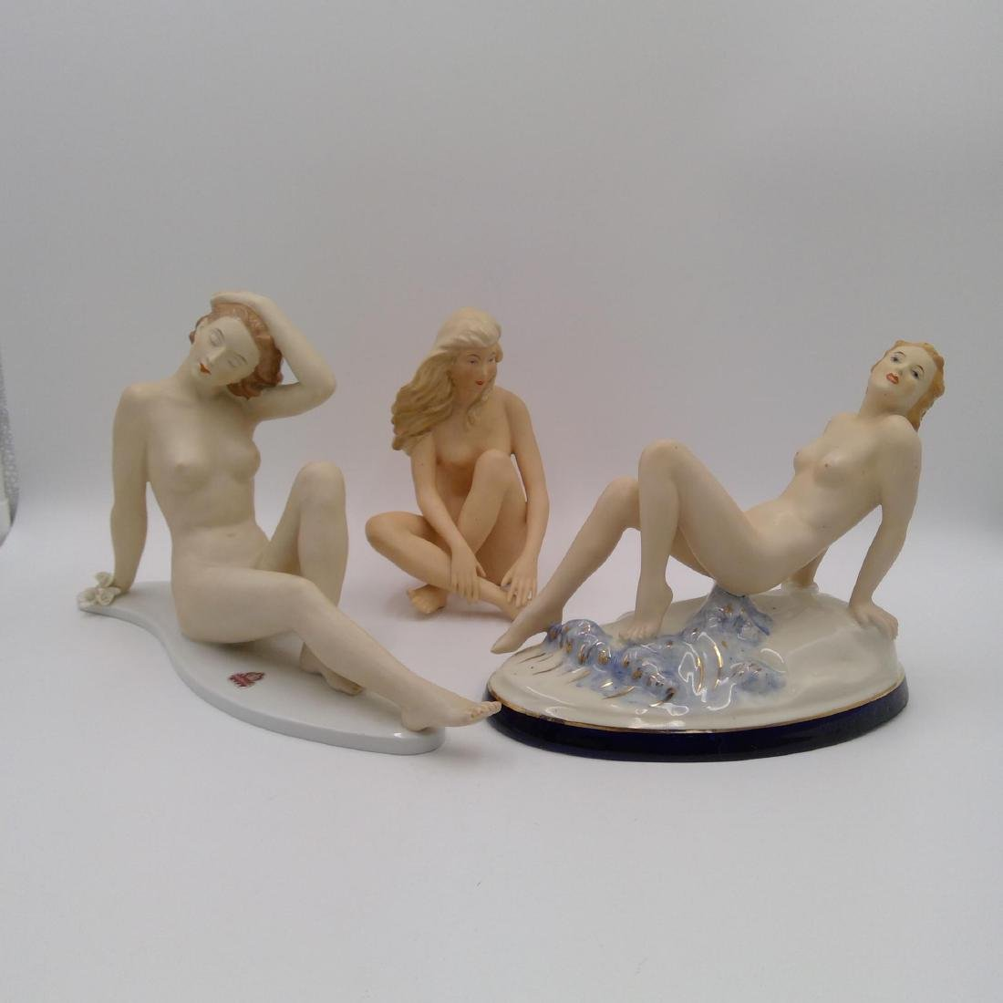 GROUP OF 3 NUDE ART DECO PORCELAIN FIGURINES