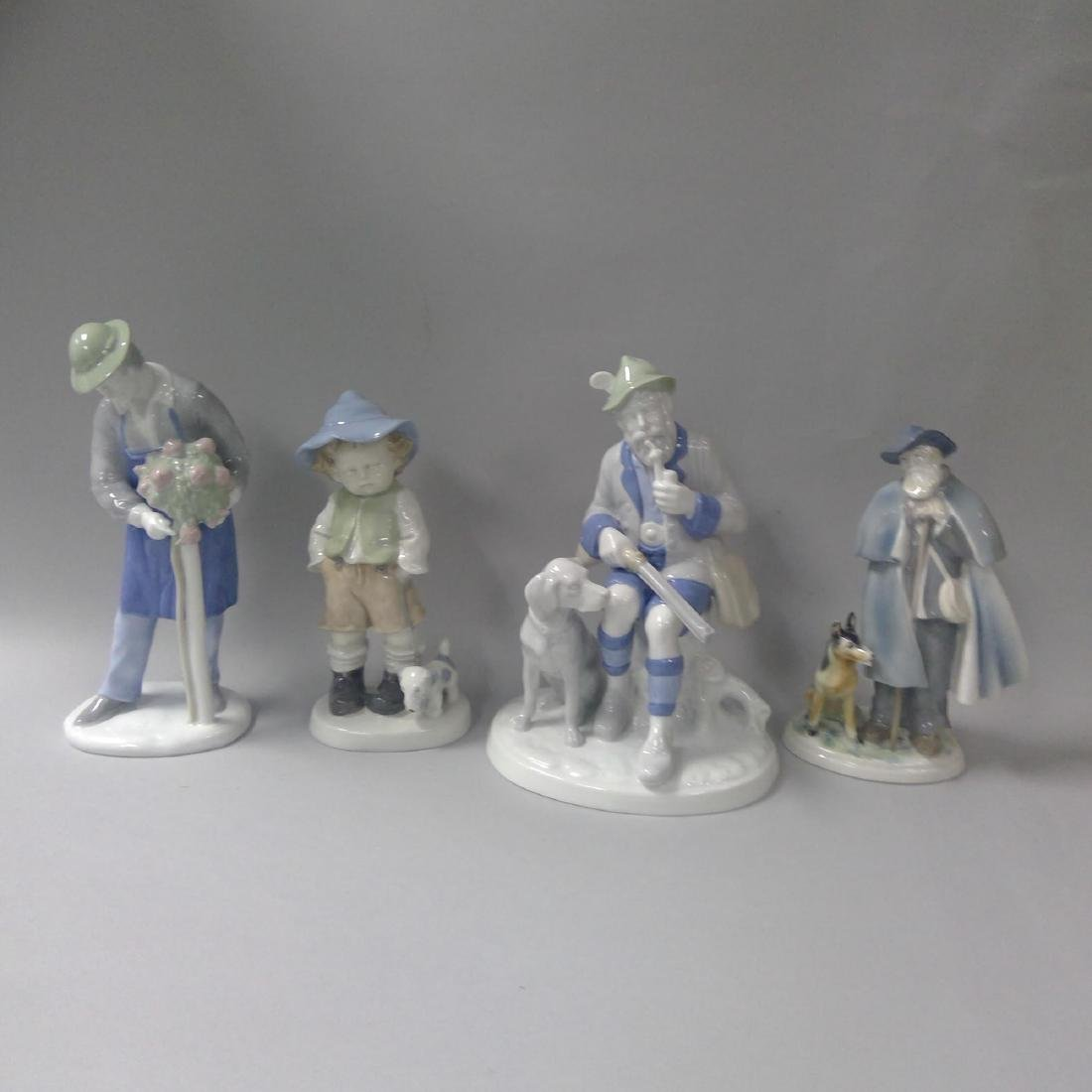 GROUP OF 4 LARGE GERMAN PORCELAIN FIGURINES